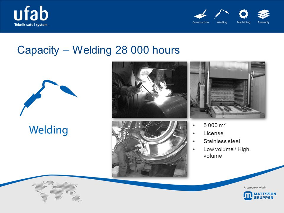 Capacity – Welding 28 000 hours 5 000 m² License Stainless steel Low volume / High volume