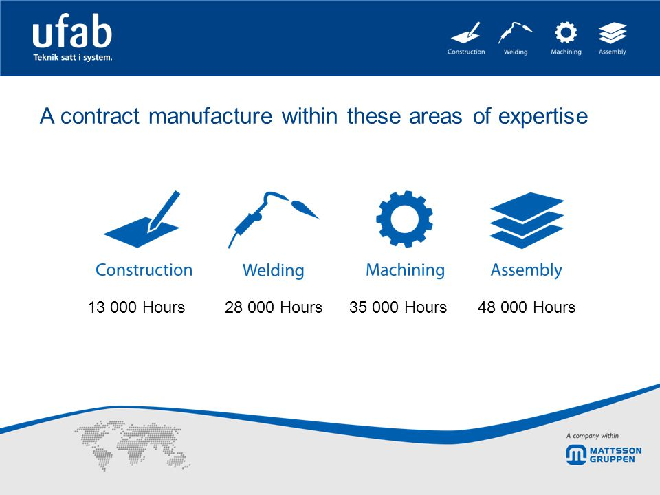 A contract manufacture within these areas of expertise 13 000 Hours 28 000 Hours35 000 Hours48 000 Hours