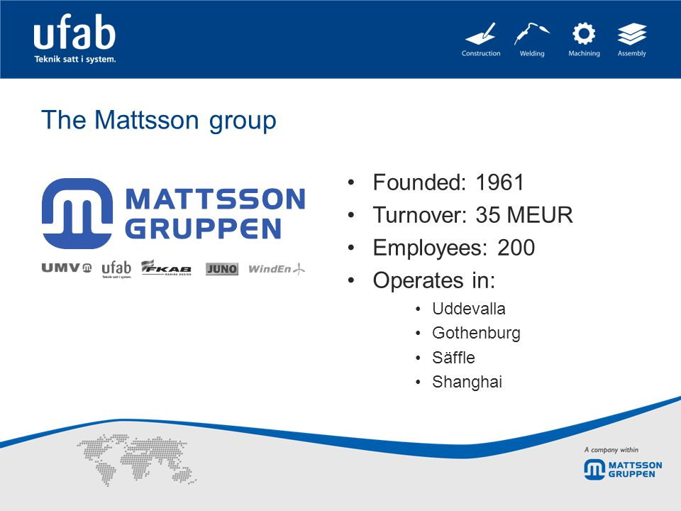The Mattsson group Founded: 1961 Turnover: 35 MEUR Employees: 200 Operates in: Uddevalla Gothenburg Säffle Shanghai