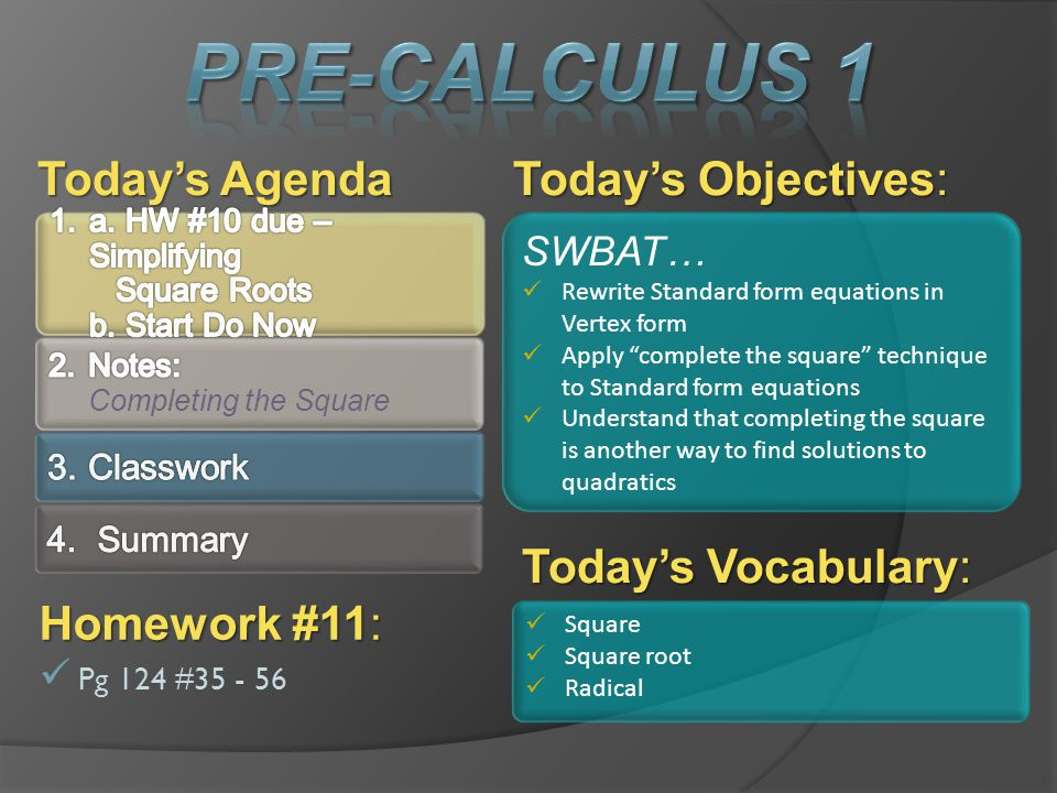 Todays Objectives: Todays Agenda SWBAT… Rewrite Standard form equations in Vertex form Apply complete the square technique to Standard form equations
