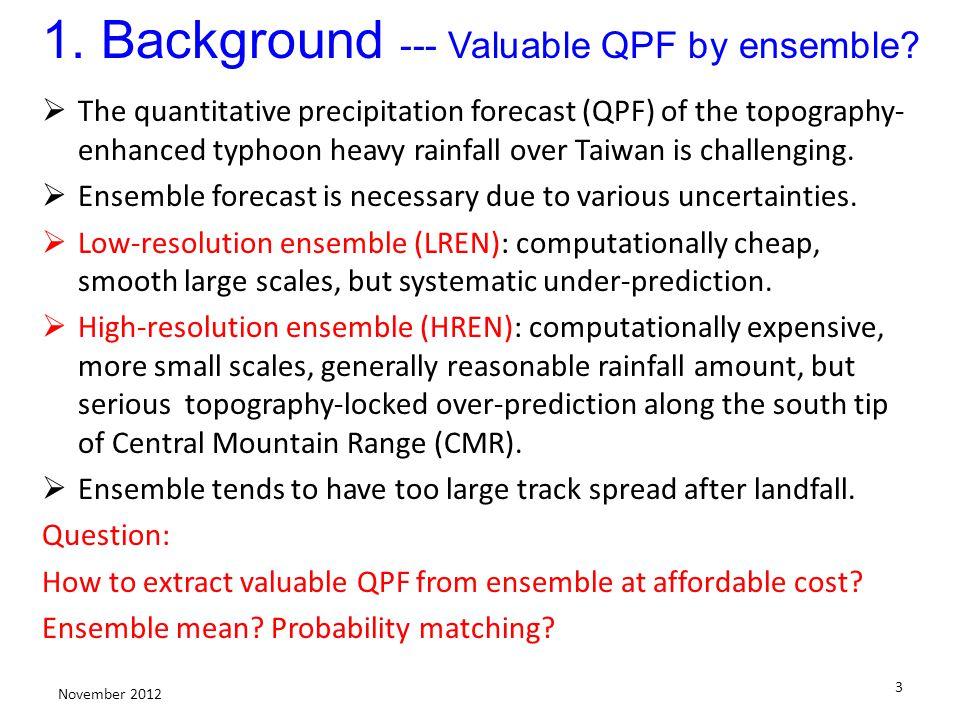 3 November 2012 1. Background --- Valuable QPF by ensemble.