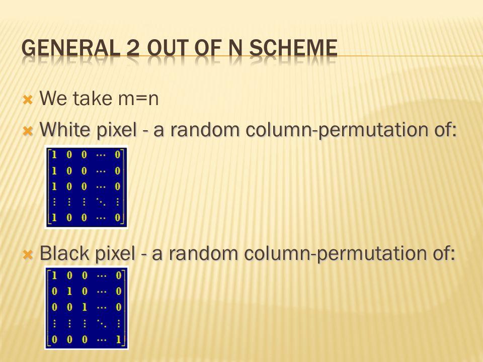 We take m=n White pixel - a random column-permutation of: White pixel - a random column-permutation of: Black pixel - a random column-permutation of: Black pixel - a random column-permutation of: