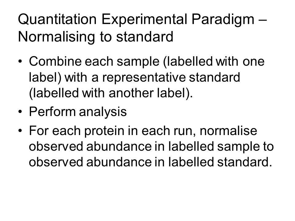 Quantitation Experimental Paradigm – Normalising to standard Combine each sample (labelled with one label) with a representative standard (labelled wi