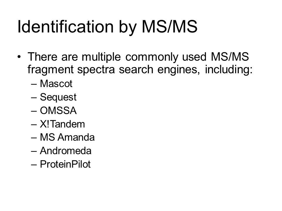 Identification by MS/MS There are multiple commonly used MS/MS fragment spectra search engines, including: –Mascot –Sequest –OMSSA –X!Tandem –MS Amand