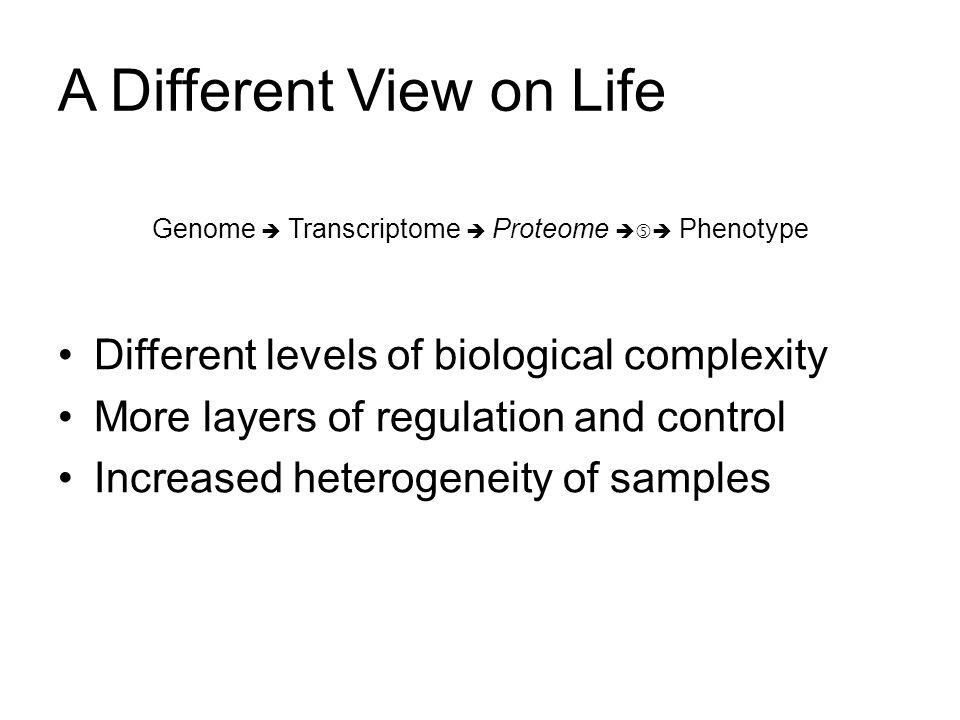 A Different View on Life Different levels of biological complexity More layers of regulation and control Increased heterogeneity of samples Genome Tra