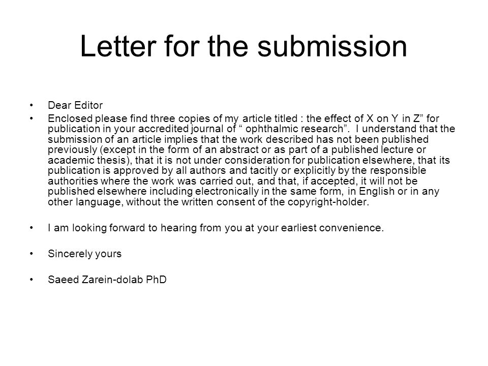 Dear Editor Enclosed please find a copy of my manuscript titled the effect of X on Y in Z