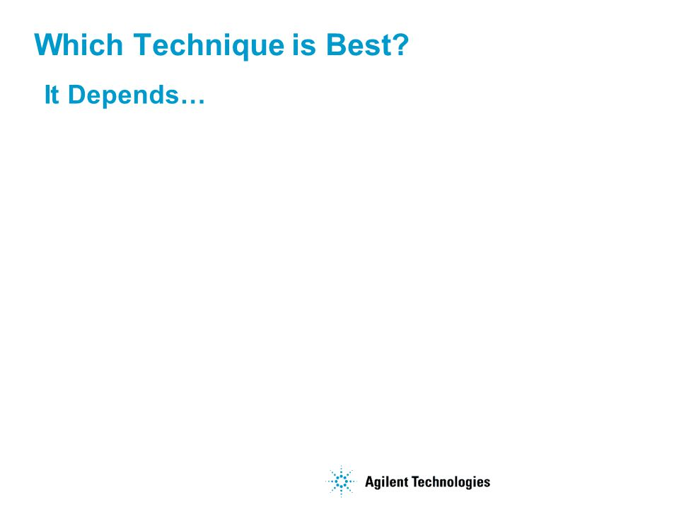 Which Technique is Best? It Depends…