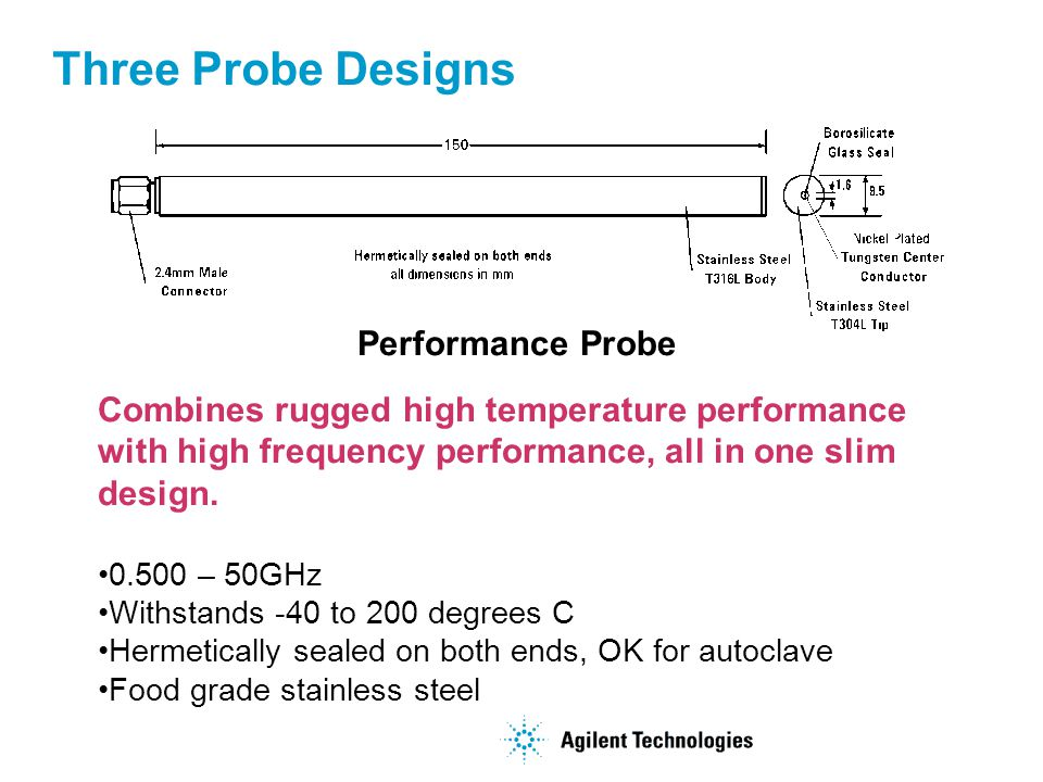 Three Probe Designs Performance Probe Combines rugged high temperature performance with high frequency performance, all in one slim design.