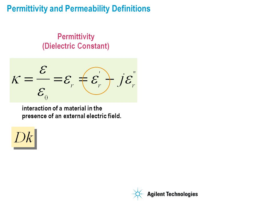 Permittivity and Permeability Definitions interaction of a material in the presence of an external electric field.