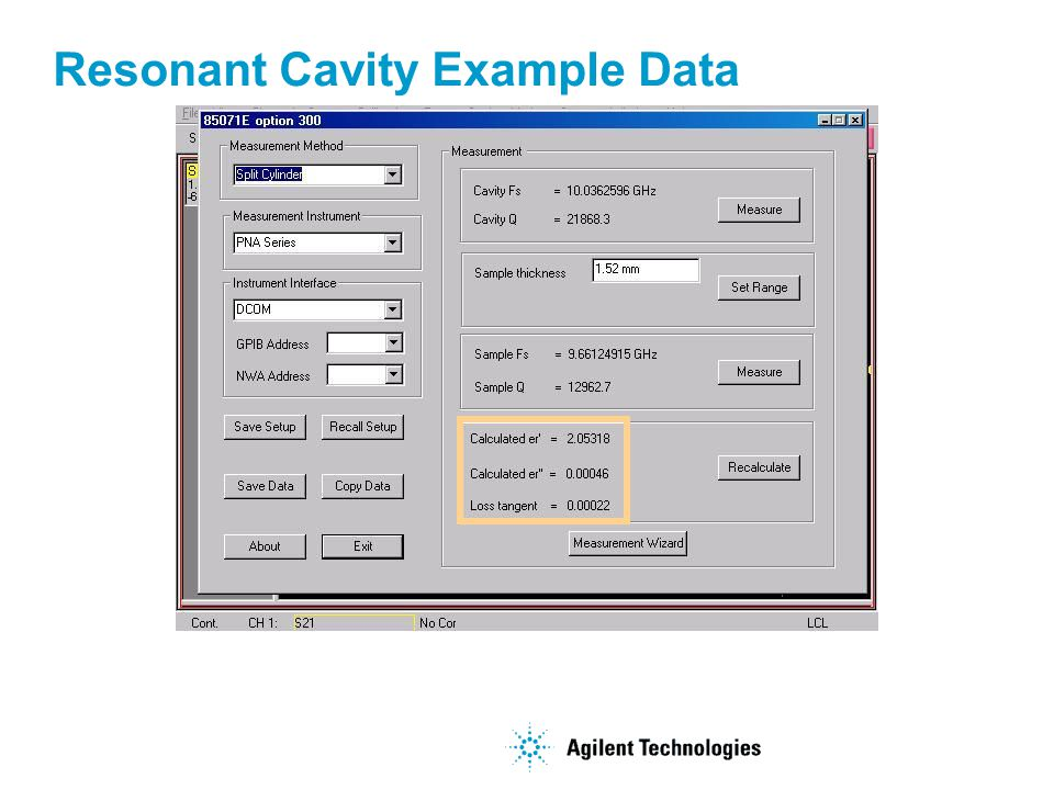 Resonant Cavity Example Data