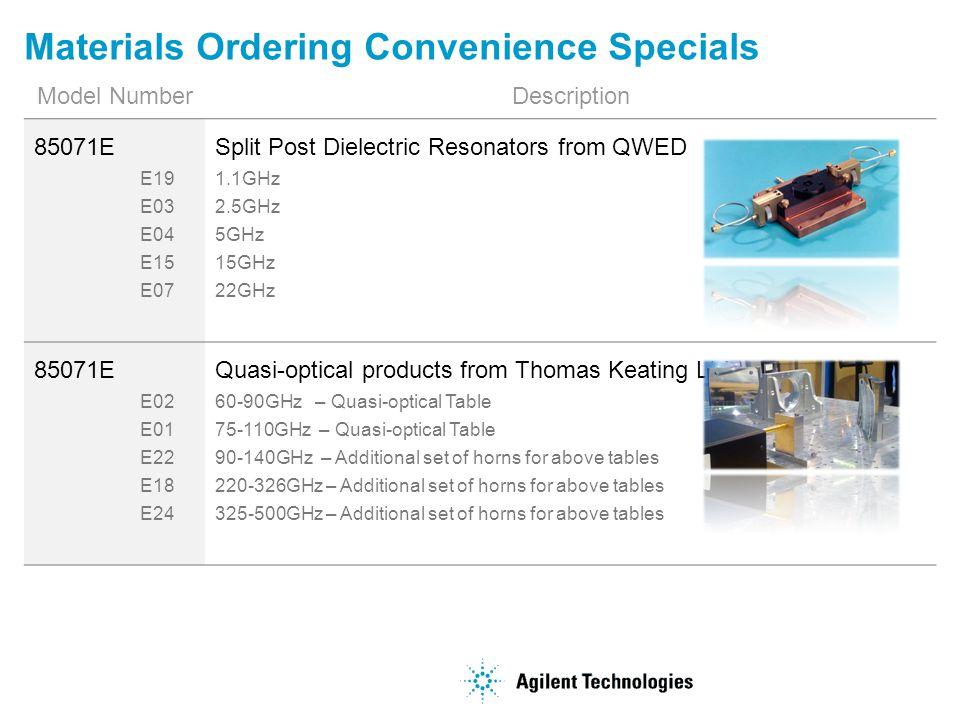 Materials Ordering Convenience Specials Model NumberDescription 85071E E19 E03 E04 E15 E07 Split Post Dielectric Resonators from QWED 1.1GHz 2.5GHz 5G