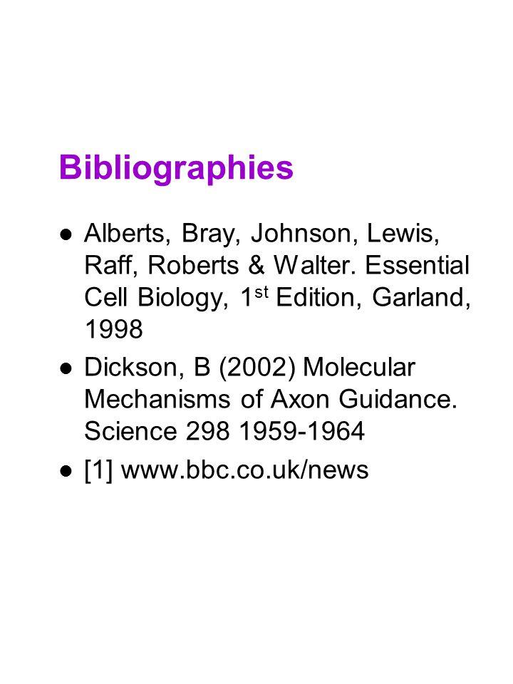 Bibliographies Alberts, Bray, Johnson, Lewis, Raff, Roberts & Walter. Essential Cell Biology, 1 st Edition, Garland, 1998 Dickson, B (2002) Molecular