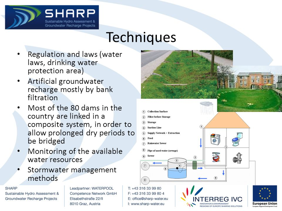 Techniques Regulation and laws (water laws, drinking water protection area) Artificial groundwater recharge mostly by bank filtration Most of the 80 dams in the country are linked in a composite system, in order to allow prolonged dry periods to be bridged Monitoring of the available water resources Stormwater management methods