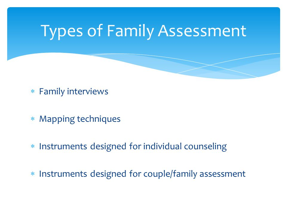 Family interviews Mapping techniques Instruments designed for individual counseling Instruments designed for couple/family assessment Types of Family