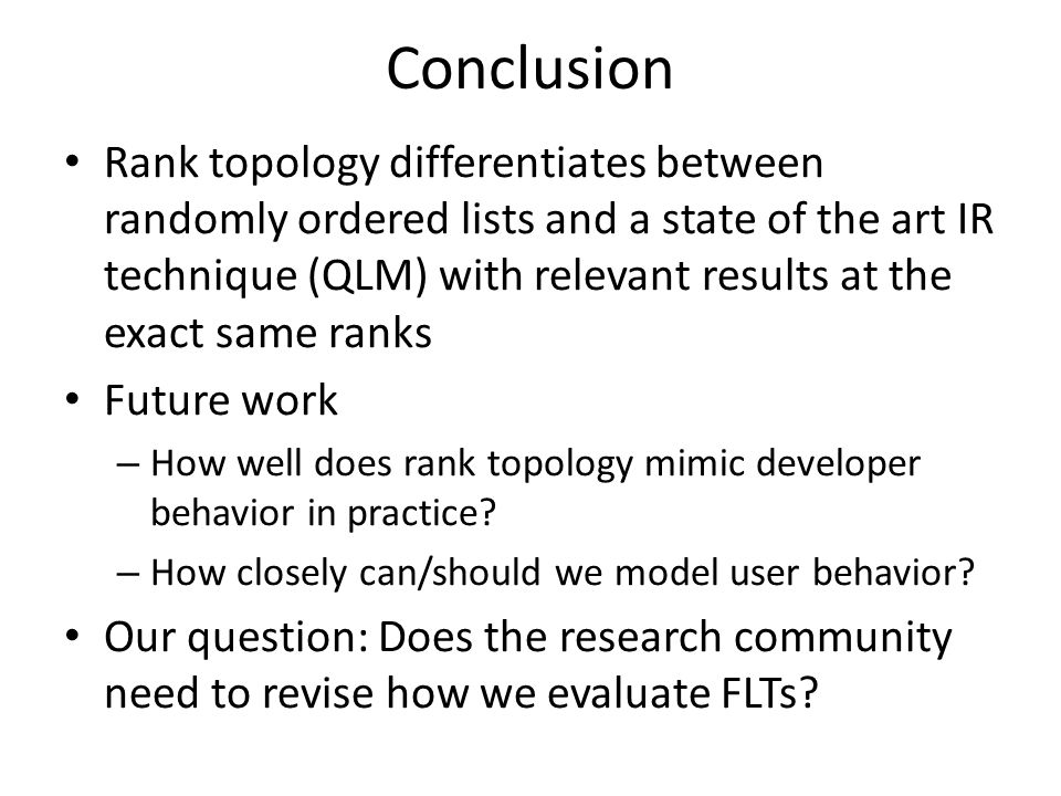 Preliminary Study Effect of program structure on the rank topology metric for each JabRef bug used in the case study.