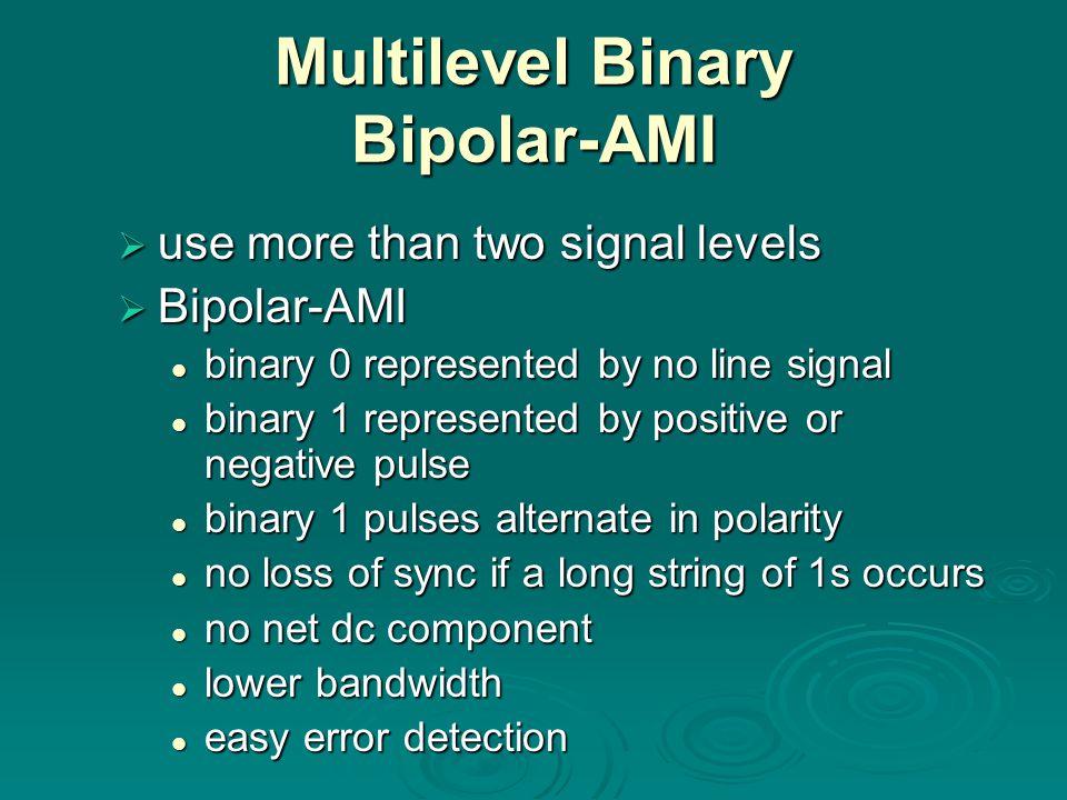 Multilevel Binary Bipolar-AMI use more than two signal levels use more than two signal levels Bipolar-AMI Bipolar-AMI binary 0 represented by no line