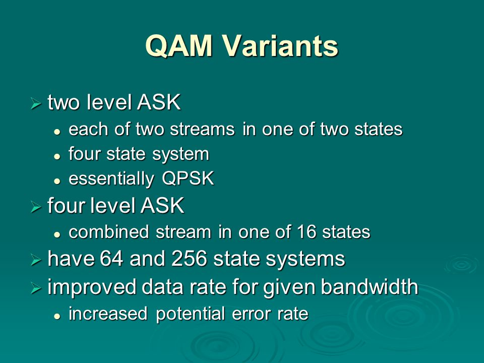QAM Variants two level ASK two level ASK each of two streams in one of two states each of two streams in one of two states four state system four stat