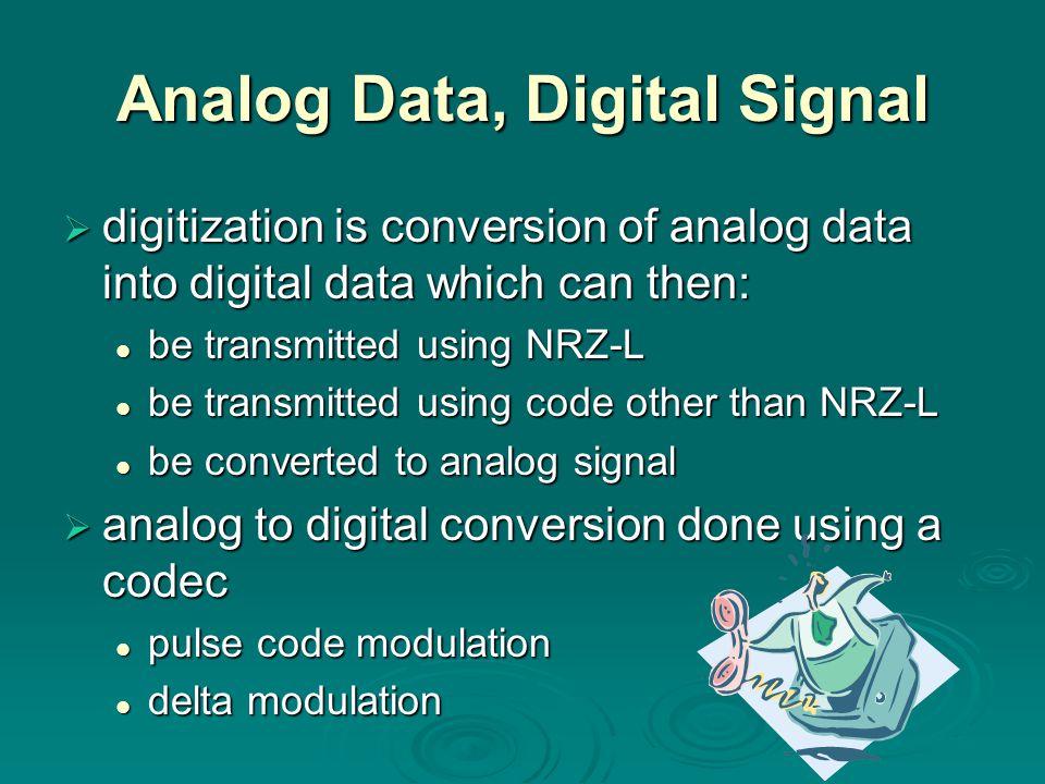 Analog Data, Digital Signal digitization is conversion of analog data into digital data which can then: digitization is conversion of analog data into