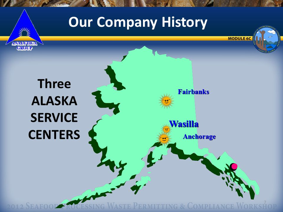 7 Our Company History Three ALASKA SERVICE CENTERS Fairbanks Anchorage Wasilla Wasilla