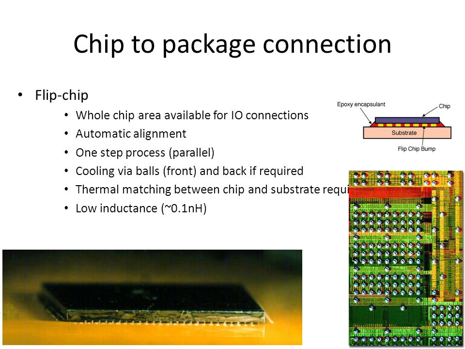 Multiple Chip Module (MCM) Increase integration level of system (smaller size) Decrease loading of external signals > higher performance No packaging of individual chips Problems with known good die: – Single chip fault coverage: 95% – MCM yield with 10 chips: (0.95) 10 = 60% Problems with cooling Still expensive