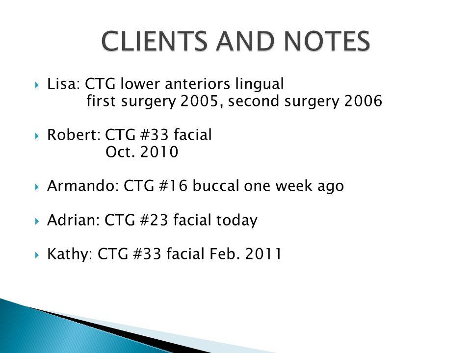 Lisa: CTG lower anteriors lingual first surgery 2005, second surgery 2006 Robert: CTG #33 facial Oct.