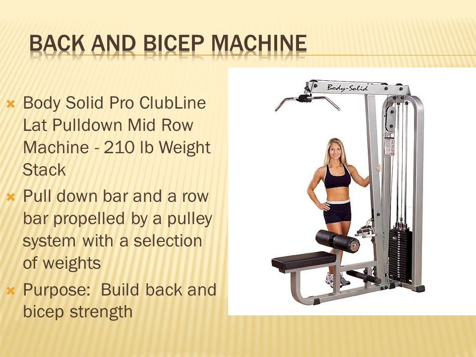 Body Solid Pro ClubLine Lat Pulldown Mid Row Machine - 210 lb Weight Stack Pull down bar and a row bar propelled by a pulley system with a selection o