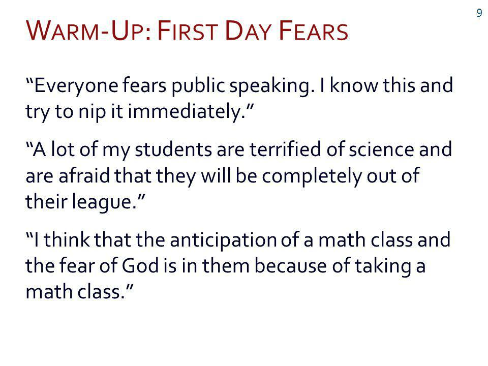 W ARM -U P : F IRST D AY F EARS 9 Everyone fears public speaking.
