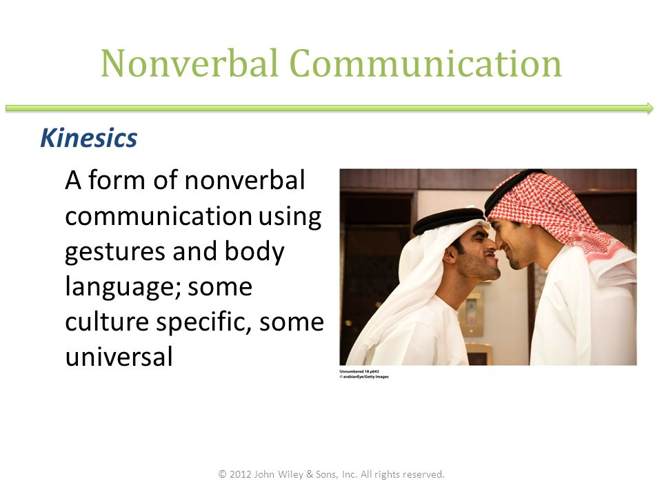 Nonverbal Communication Kinesics A form of nonverbal communication using gestures and body language; some culture specific, some universal © 2012 John Wiley & Sons, Inc.