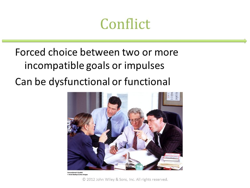 Conflict Forced choice between two or more incompatible goals or impulses Can be dysfunctional or functional © 2012 John Wiley & Sons, Inc. All rights