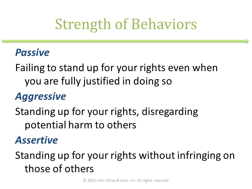 Strength of Behaviors Passive Failing to stand up for your rights even when you are fully justified in doing so Aggressive Standing up for your rights, disregarding potential harm to others Assertive Standing up for your rights without infringing on those of others © 2012 John Wiley & Sons, Inc.