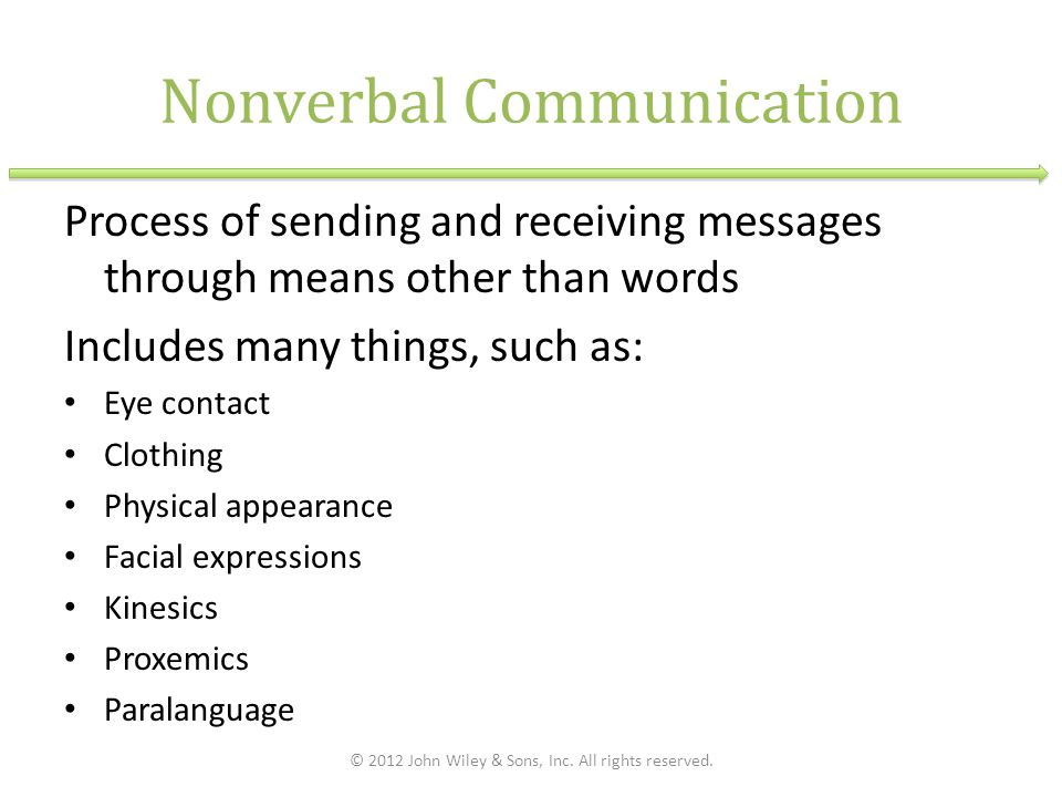 Nonverbal Communication Process of sending and receiving messages through means other than words Includes many things, such as: Eye contact Clothing Physical appearance Facial expressions Kinesics Proxemics Paralanguage © 2012 John Wiley & Sons, Inc.