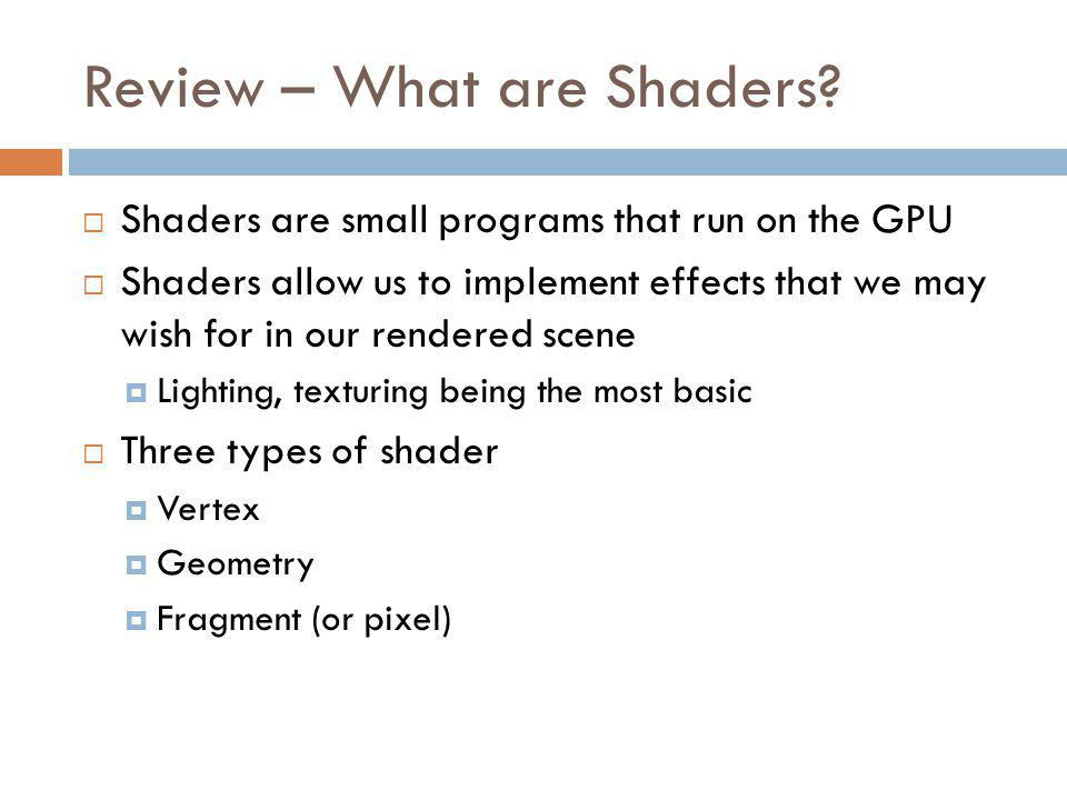 Review – What are Shaders.