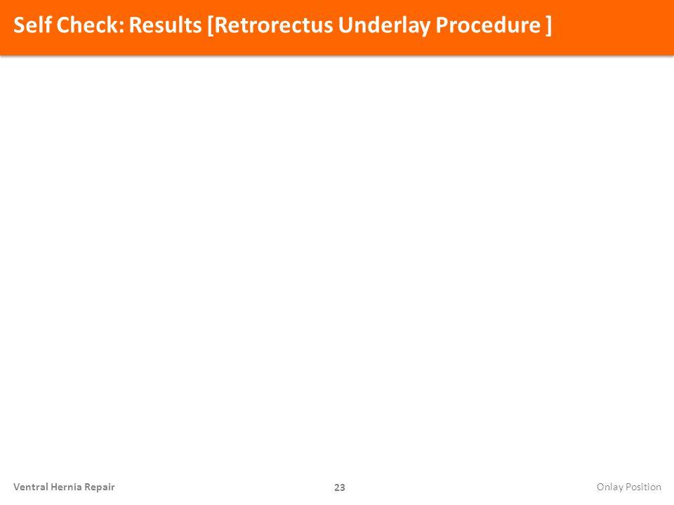 Self Check: Results [Retrorectus Underlay Procedure ] 23 Ventral Hernia Repair Onlay Position