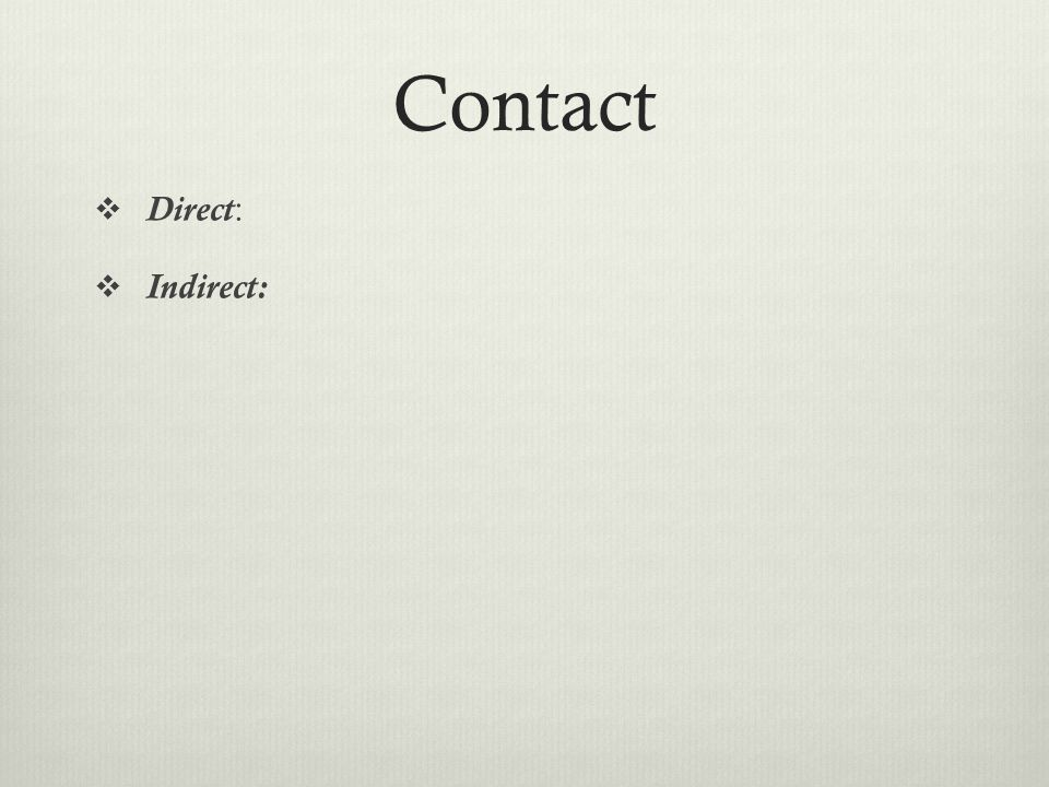 Contact Direct: Indirect: