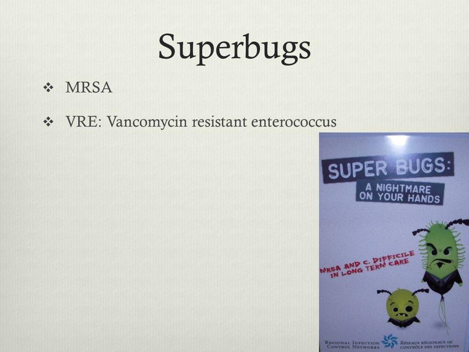 Superbugs MRSA VRE: Vancomycin resistant enterococcus