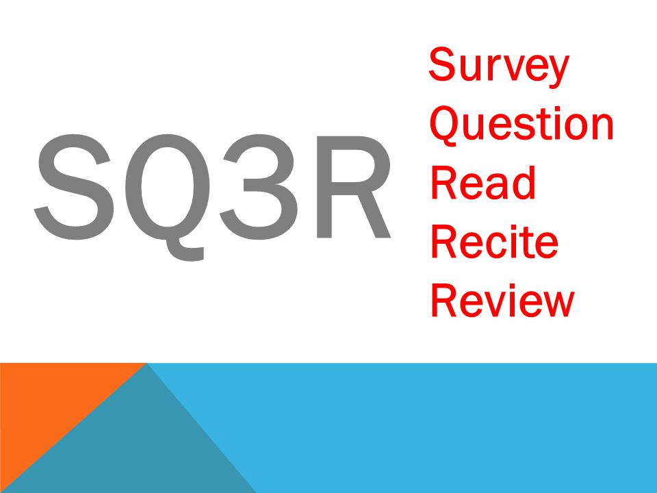 SQ3R: SURVEY Read Overview Highlight