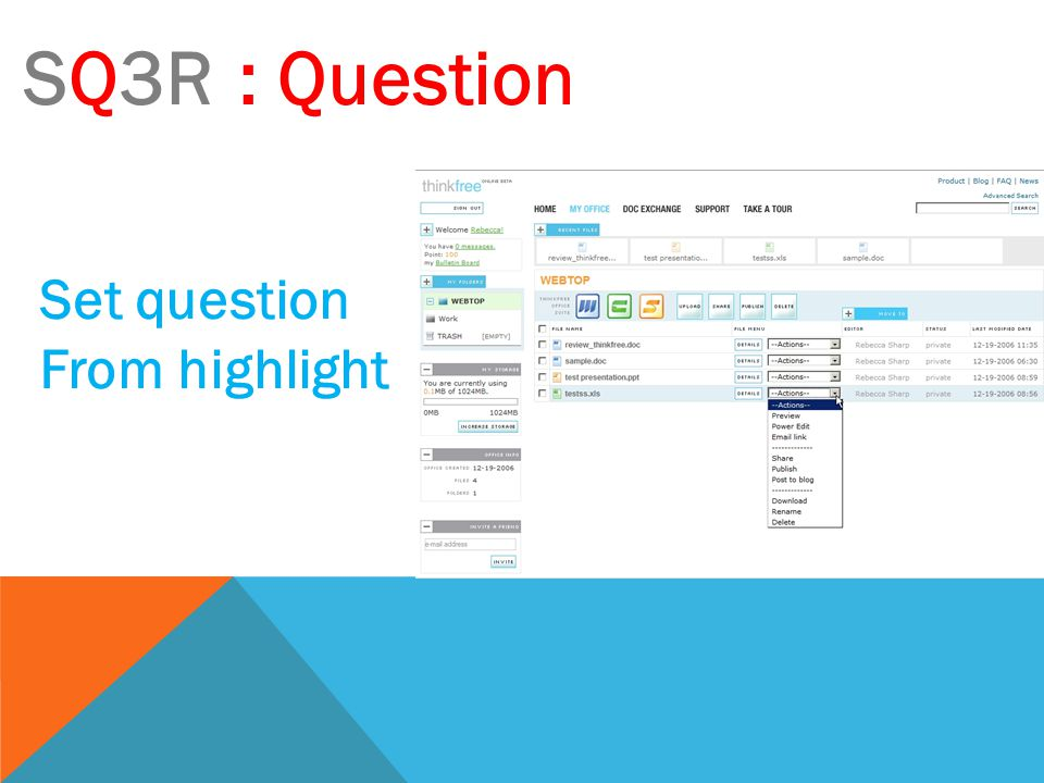 SQ3R: Question Set question From highlight