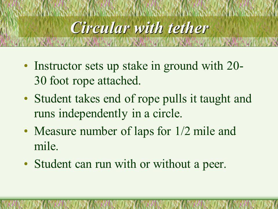 Circular with tether Instructor sets up stake in ground with 20- 30 foot rope attached.