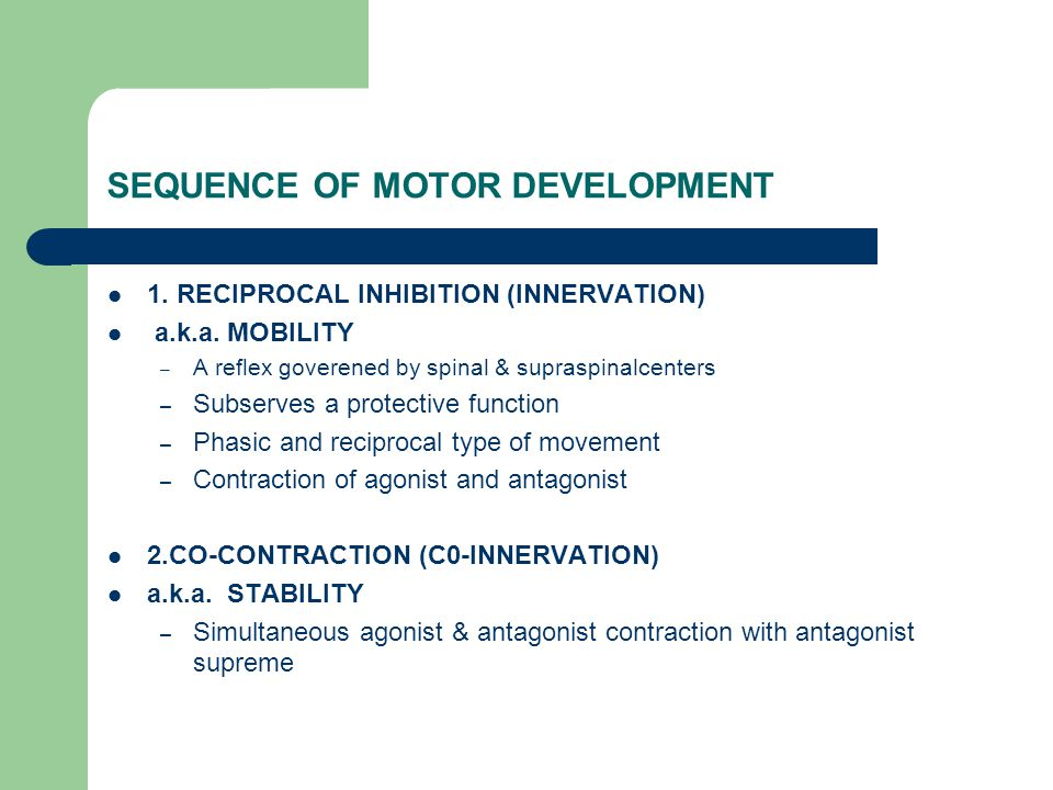 Stages of Motor Control Mobility Stability Controlled Mobility Skill