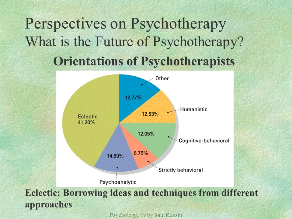 Psychology, 4/e by Saul Kassin ©2004 Prentice Hall Perspectives on Psychotherapy What is the Future of Psychotherapy? Orientations of Psychotherapists