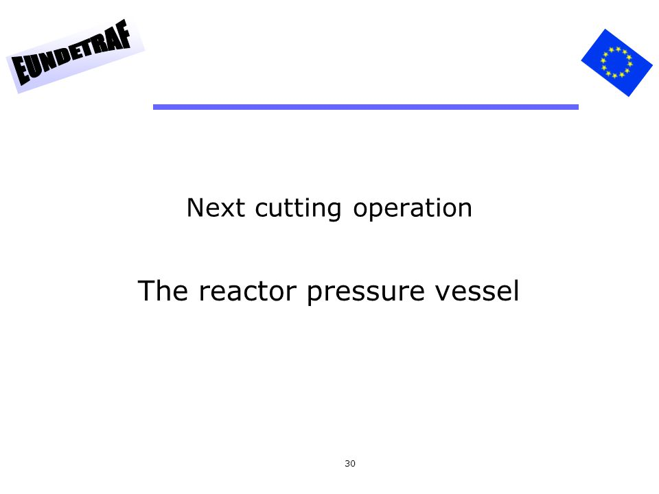 30 Next cutting operation The reactor pressure vessel