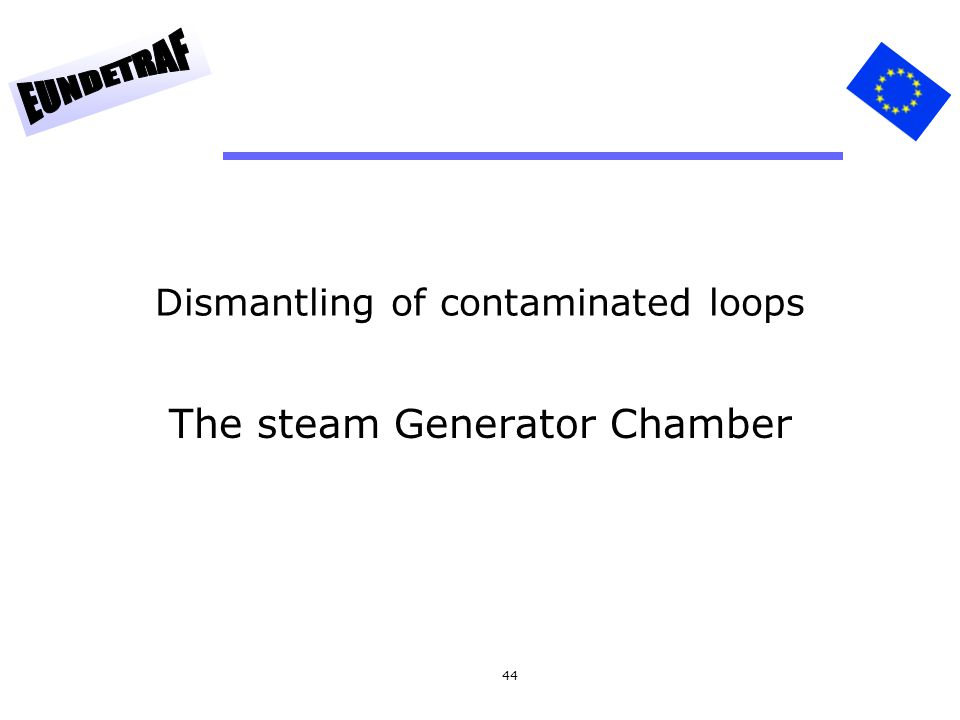 44 Dismantling of contaminated loops The steam Generator Chamber