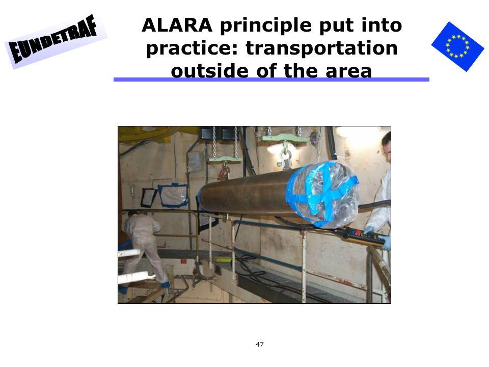 47 ALARA principle put into practice: transportation outside of the area