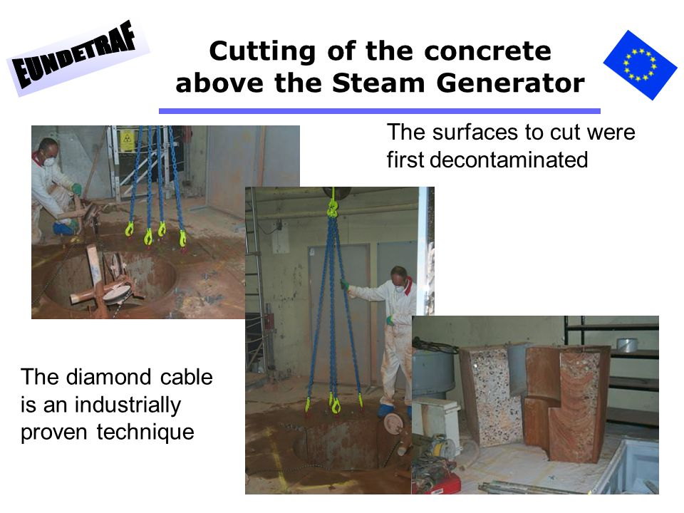 54 Cutting of the concrete above the Steam Generator The surfaces to cut were first decontaminated The diamond cable is an industrially proven techniq