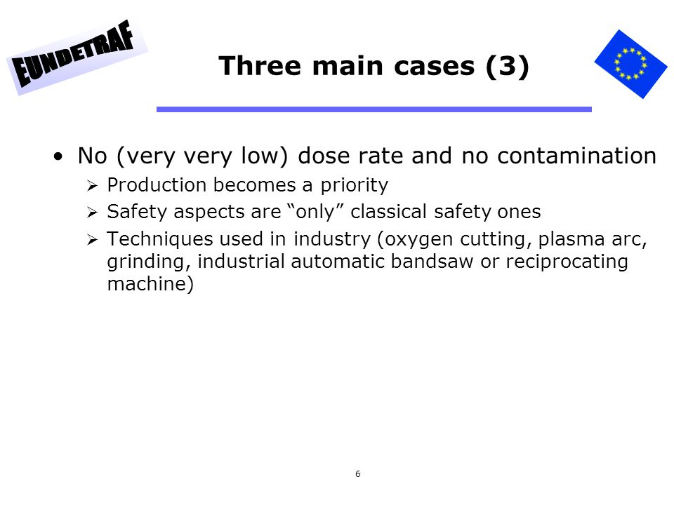 6 Three main cases (3) No (very very low) dose rate and no contamination Production becomes a priority Safety aspects are only classical safety ones T