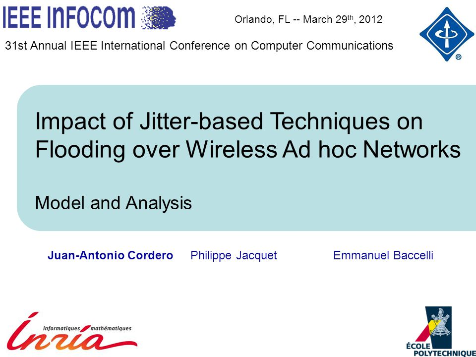 Link-state routing over MANETs: Estimating the impact of jitter techniques in wireless flooding 12 time (in) … Arrival triggering a collecting phase Impact of jitter technique in wireless flooding Variables t t1t1