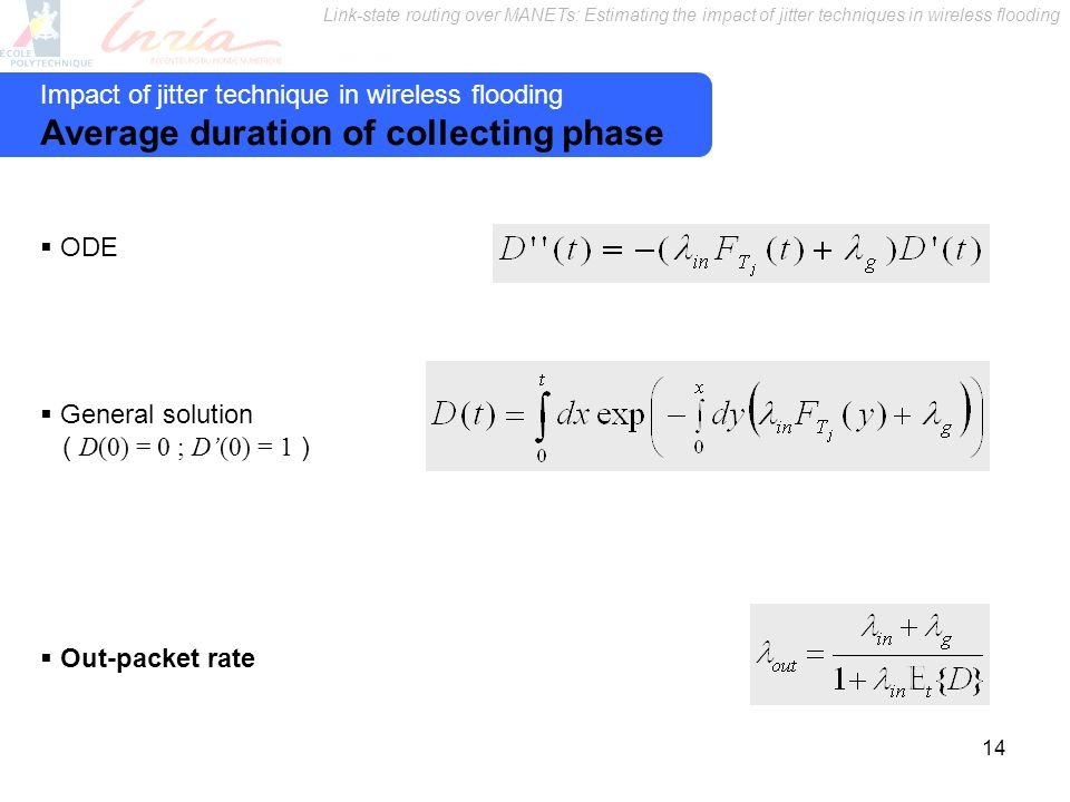 Link-state routing over MANETs: Estimating the impact of jitter techniques in wireless flooding 14 Impact of jitter technique in wireless flooding Average duration of collecting phase ODE General solution ( D(0) = 0 ; D(0) = 1 ) Out-packet rate