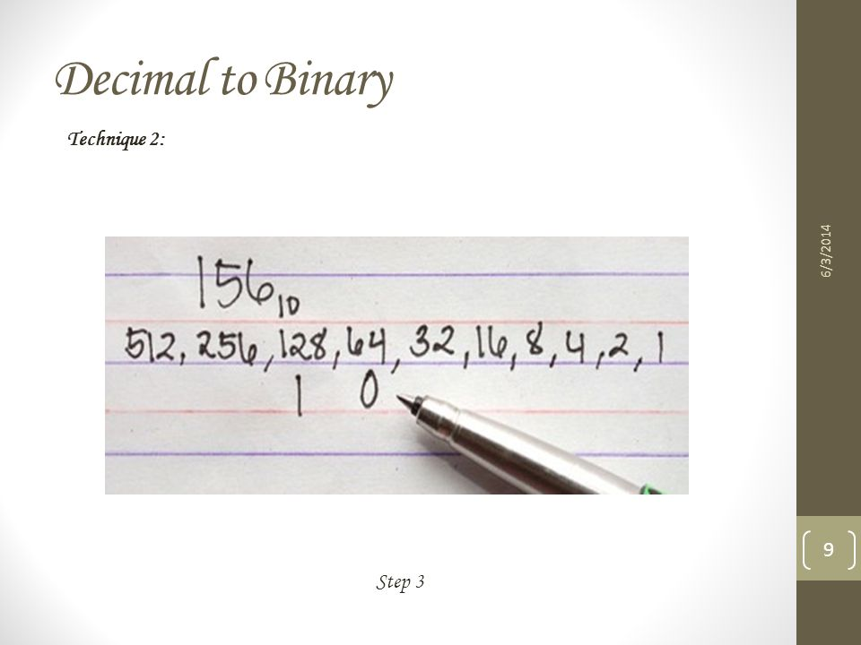 Decimal to Binary 6/3/2014 10 Step 4 Technique 2: