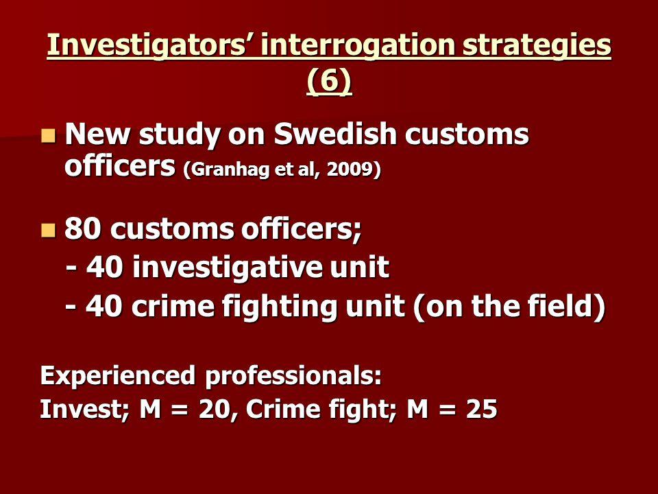 Investigators interrogation strategies (6) New study on Swedish customs officers (Granhag et al, 2009) New study on Swedish customs officers (Granhag