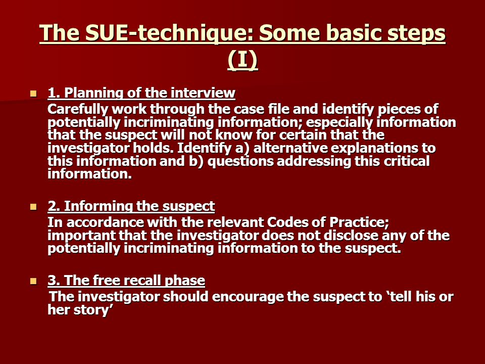 The SUE-technique: Some basic steps (I) 1. Planning of the interview 1.